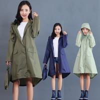 Women Raincoat Long Travel Camping Accessories Waterproof Ladies Rain Coat Portable Rainwear Suit Hooded Womens Raincoat 60YY011