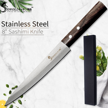 SOWOLL Laser Damascus Chef Knife Stainless Steel Sashimi Kitchen Knife Japanese Salmon Sushi Knife Raw Fish Fillet Layers Knife sashimi knife 14 inches