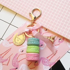 Image 2 - 10pcs/lot Girls Fashion Jewelry Keychains Macaroon Cake Model Pendant Key Ring Bags Ornament Keychain For Women Accessories