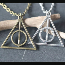 Vintage Deathly Hallows Necklaces Silver Charms Triangle Pendant Necklace Bijoux Female Jewelry Choker Collier Christmas Gifts