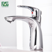 FLG Basin Faucets Solid Brass Chrome Modern Bathroom Sink Faucet Single Handle Washbasin Hot Cold Mixer Water Tap Torneira ouboni tempered glass sinks polish chrome bathroom sink washbasin ceramic lavatory bath sink combine set torneira mixer faucet