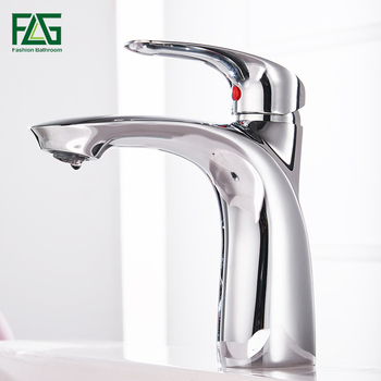 FLG Basin Faucets Solid Brass Chrome Modern Bathroom Sink Faucet Single Handle Washbasin Hot Cold Mixer Water Tap Torneira