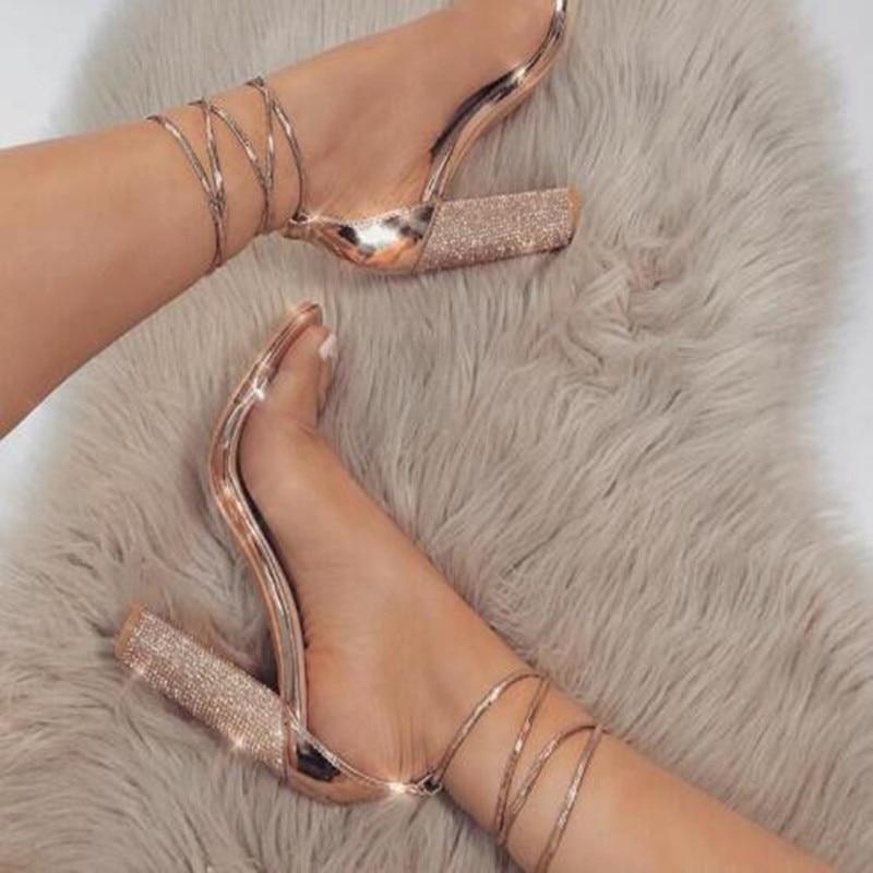 Square Heels Pumps Sandals Ankle-Strap Rhinestone Lady Shoes Big-Size Women Super New