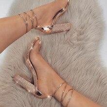 Большие размеры 34-43 Для женщин на высоком каблуке, сандалии с Стразы туфли-лодочки с завязками на лодыжках очень высокий каблук 11 см; квадратный каблук Женская обувь новая#265