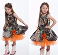 Cute Baby Girl Camo Flat Flower Girl Dress For First Communication Orange Flower Short Pageant Dress For Weddings