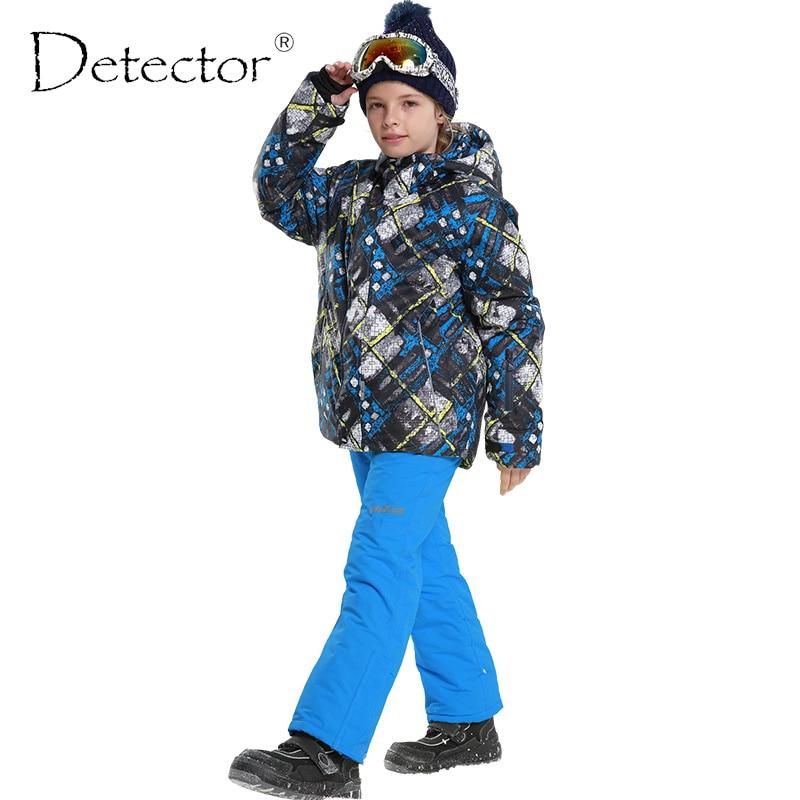 Детектор Новые Детские Лыжные Верхняя одежда куртка с капюшоном + повязка Брюки для девочек Дети Сноуборд Костюмы для маленьких мальчиков з