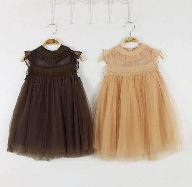2016 Summer New Girl Dress Lace Princess Dress Girl Gauze Sundress Children Clothing 2-7T 8686