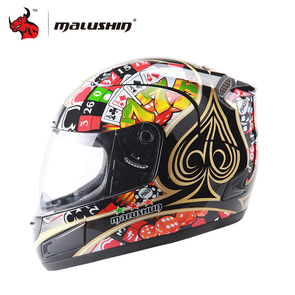 MALUSHUN Personality Moto Capacete Flip Up Motorcycle Helmet Poker Printing Full Face Racing Helmets Capacete Casque 6 Color nenki motorcycle helmets motocross racing helmet motorbike full face helmet capacete de moto for men and women 13 color