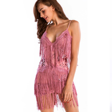 new fringed sexy womens sequin dress ladies sleeveless halter luxury club party