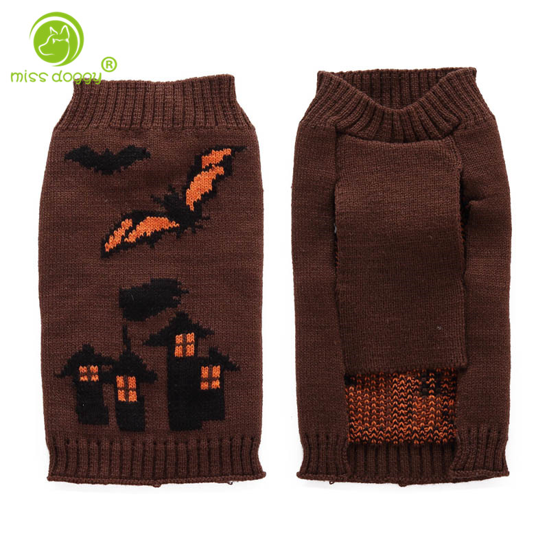 Halloween Brown Bats Dog sweater Castle Style Pet Dog Vest Cute Clothes Puppy Winter Sweater Apparel For Small Dogs Chihuahua