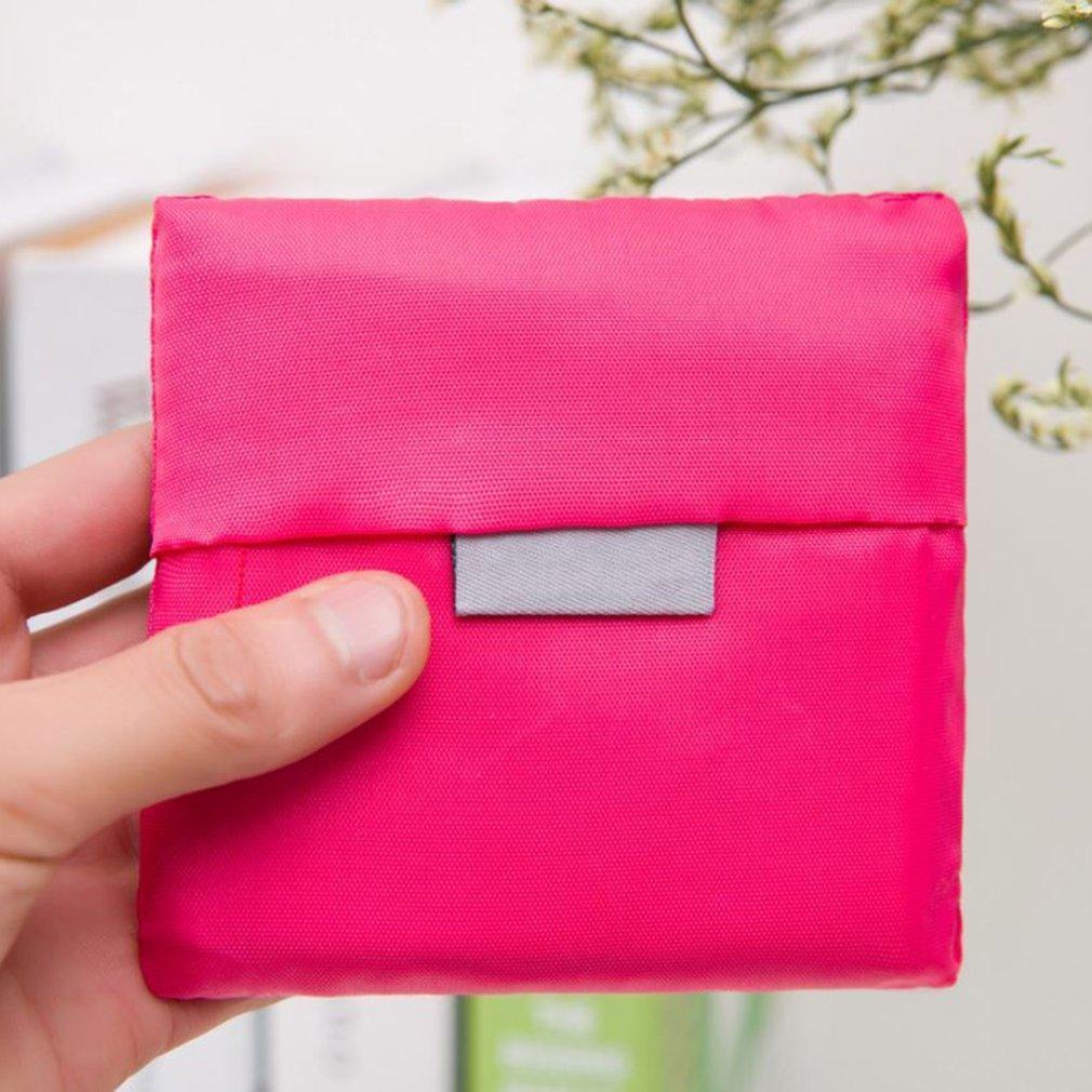 Solid Color Foldable Oxford  Shopping Bag Environment Eco-Friendly Reusable Portable High Capacity Handle Bag For Women 2018