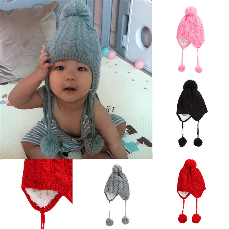 Baby Hats For Girls Boys Children Baggy Warm Crochet Wool Knit Ski Beanie Skull Slouchy Caps Winter Hat Czapki Dla Dzieci #4s19 Soft And Antislippery