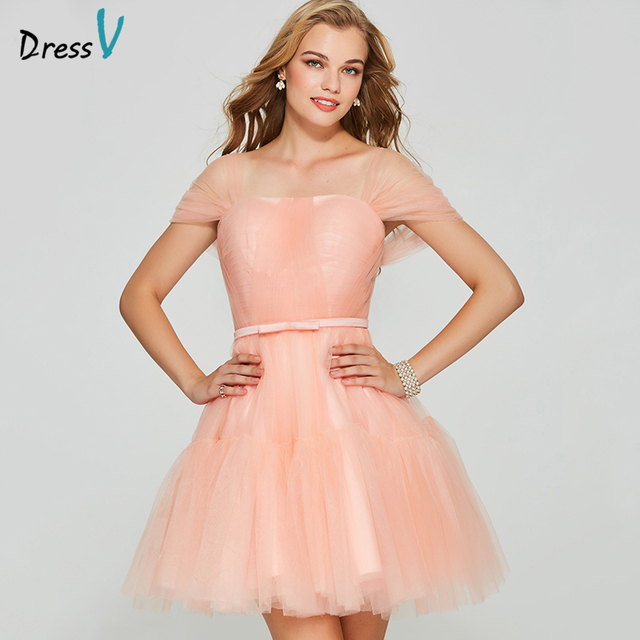 Dressv light pink elegant homecoming dress ball gown short sleeves zipper  up short mini beading homecoming graduation ca23d09ea9dc