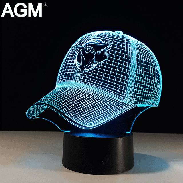 3D LED MBL Deporte Forma LightTouch Ilusión de Mesa USB 7 colores Toronto Blue Jays Lampara Lámpara de Escritorio Para Niños de Los Niños Nightlight