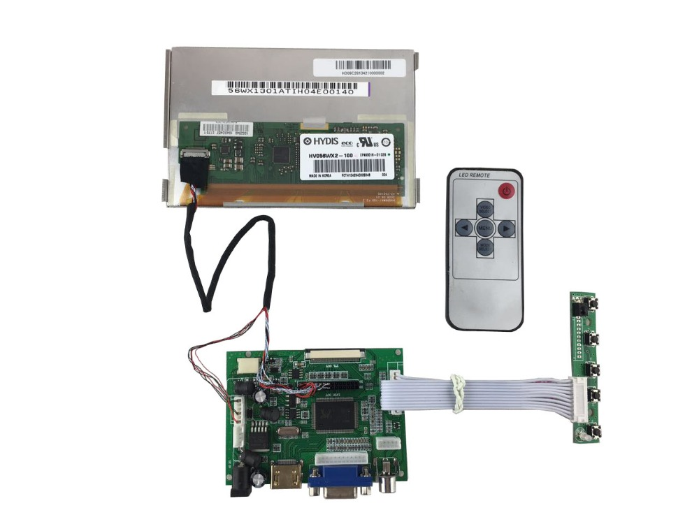 HDMI+VGA +2AV of LCD controller board +5.6 inch LCD panel 1280*800 +LVDS cable +Remote control +OSD keypad with cable hdmi vga 2av lcd controller board with 7inch n070icg ld1 39pin reversal1280x800 ips touch lcd