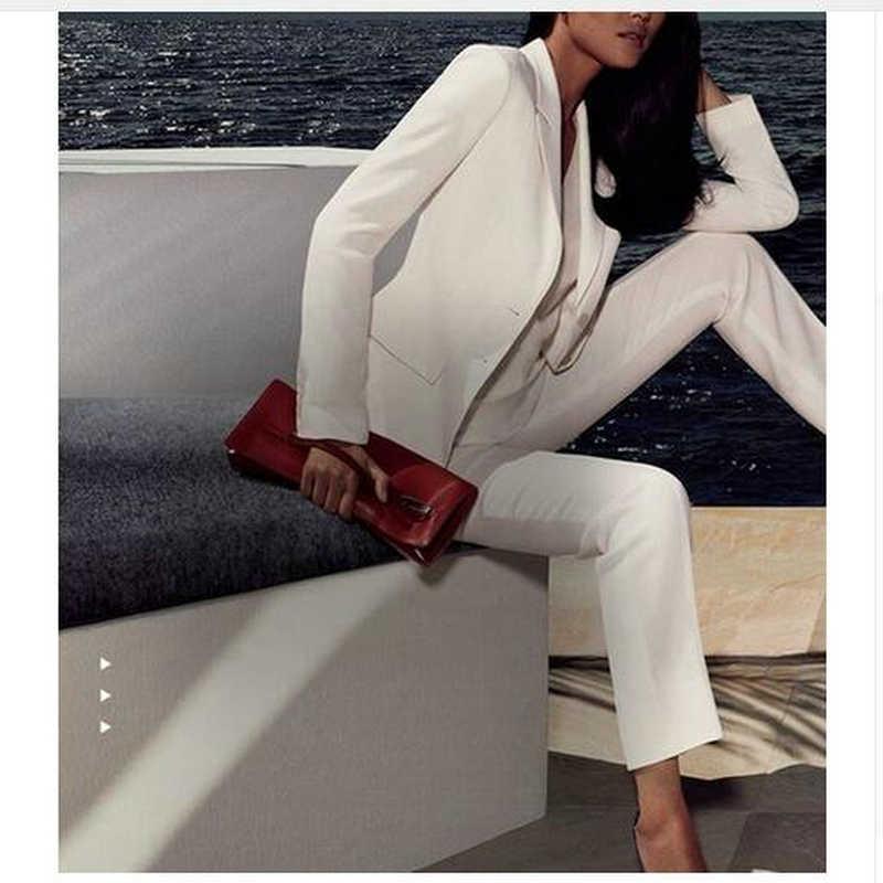 Custom Made White Women Ladies Custom Made Business Office Tuxedos Work Wear Suits Bespoke Jacket+Pants
