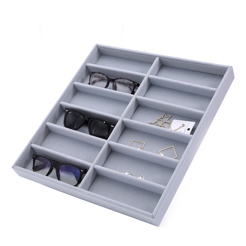 Mordoa Glasses Storage 12 Grid Sunglasses Display Sunglass Organizer Eyewear Storage Jewelry Display Box Rack Shelf mordoa 12pcs glasses storage display case box eyeglass sunglasses optical display organizer frames tray 3d glasses display rack