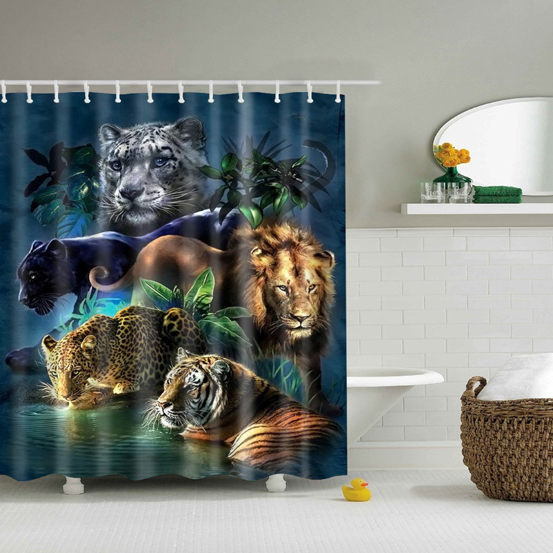 Tiger Lion Leopard Printed Shower Curtains New 2017 Fashion Waterproof Bathroom 3D Animal Curtain