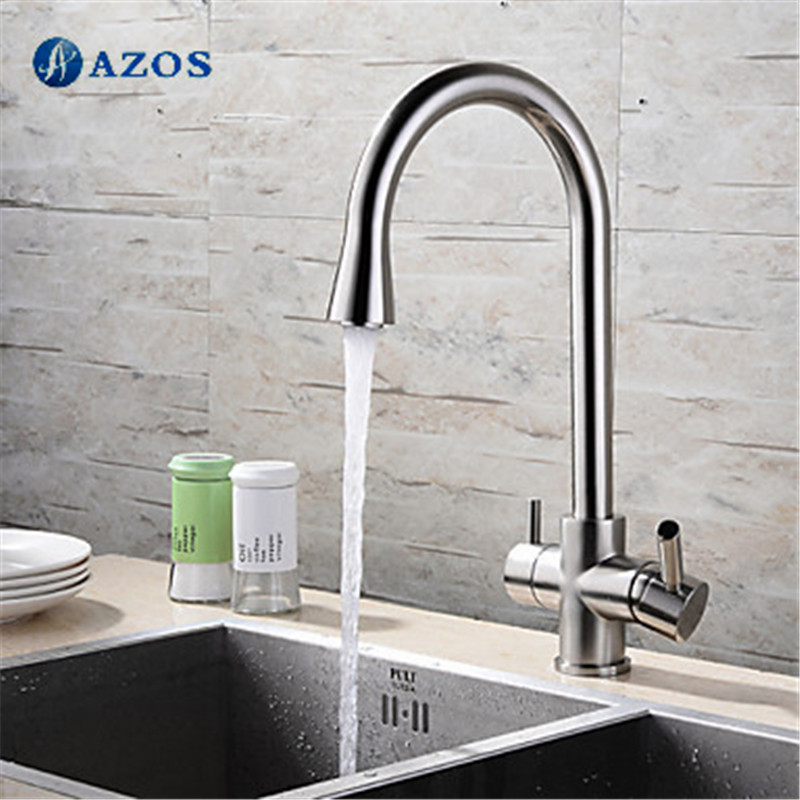 US $114.17 51% OFF|Kitchen Sink Taps Rotatable Hose Waterfall Spray Dual  Handle Brass Brushed Stainless Steel Finished Deck Mounted Mixers  CFLT360-in ...