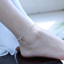 TJP Top Quality 925 Silver Women Anklets Jewelry Trendy Double Layer Star Design Bracelets For Girl Lady Party Accessories Bijou