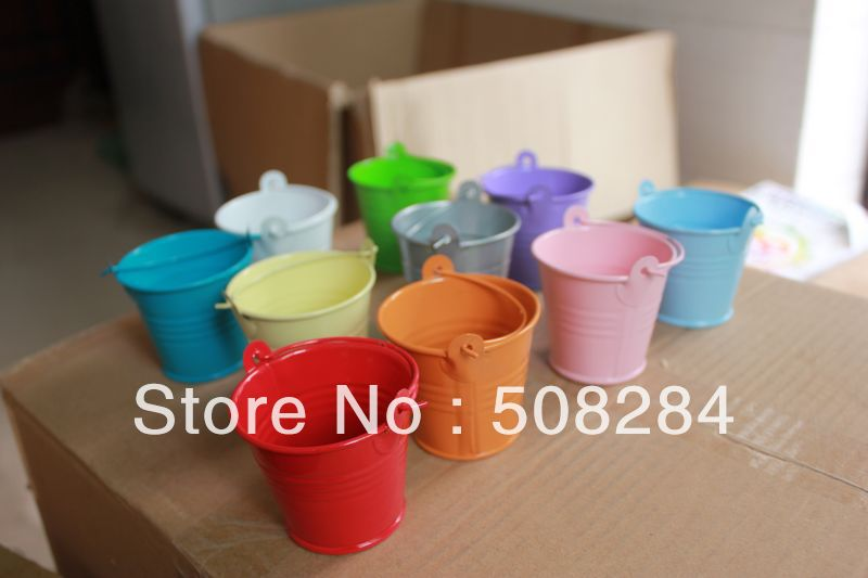 wholesale 100pcslot pink tin pails wedding favorswedding favors mini bucket