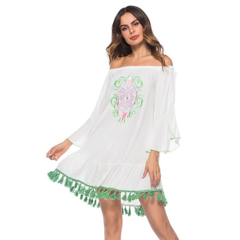 Women Tassel Sundresses Embroidered Floral slit beach Dresses Women Butterfly Sleeve White Bohemian Loose Mini Vestidos