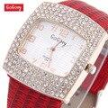 Горячая Распродажа Gogoey брендовые часы с кожаным ремешком со стразами женские Кристальные кварцевые наручные часы GO070 - фото