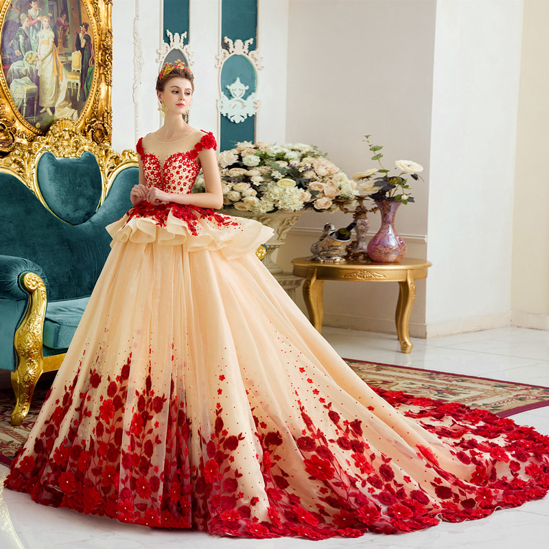 Vestidos Champagne Lace Dress for Weddding 2019 Arabic Muslim Dress Hand Flowers 1M Train Evening Gowns Formal Party Dresses in Dresses from Women 39 s Clothing