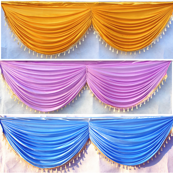DHL Free Ice Silk 20ft wedding backdrop curtain swag wedding drape with tassel party backdrop decoration 6 meter long