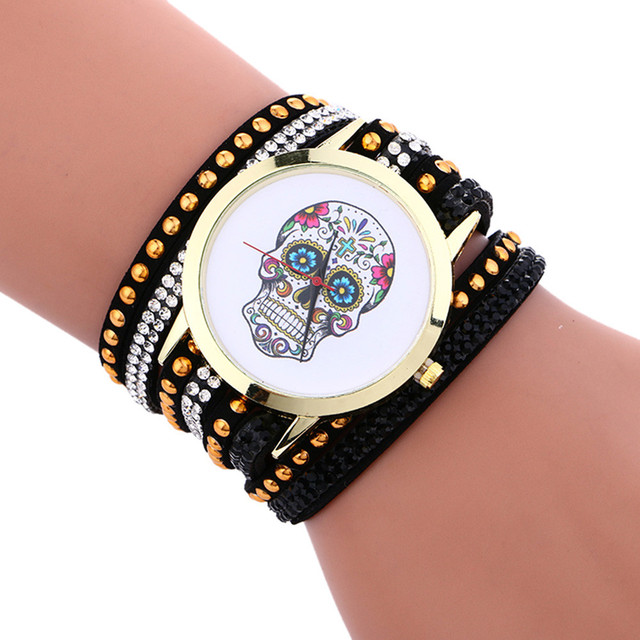 Fashion Bracelet watches women Skull watch Chimes Leather Bracelet Ladies Wristw