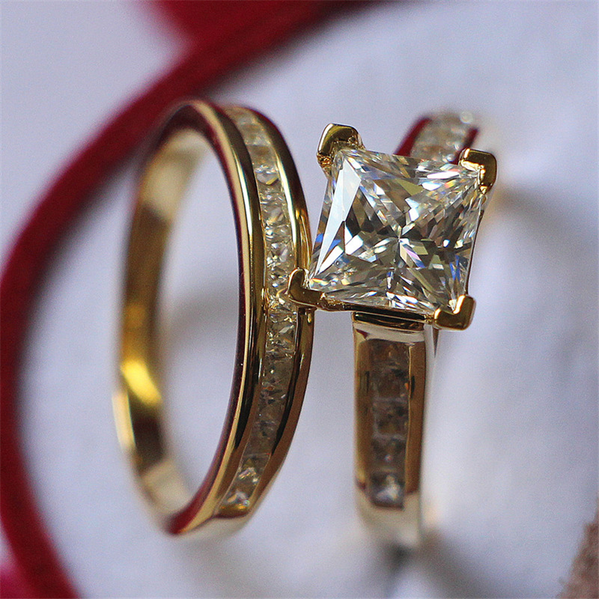 S925 Silver Set Rings Fabulous 2Ct Princess Cut Synthetic Diamant Rings White Gold Color Engagement Ring