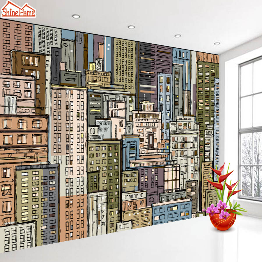 ShineHome-City Building Wallpaper Black and White 3d Murals for Walls 3 d Wallpapers for Livingroom Kids 3 d Mural Roll Room shinehome 3d room wallpaper black and white zebra strips wallpapers 3d for walls 3 d livingroom wallpapers mural roll paper