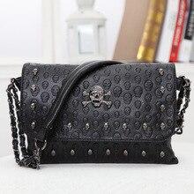 JIEROTYX New Arrival Women Handbag Rivet Gothic Skull Bags Chain Messenger Crossbody Shoulder Bag Female Black Leather Drop Ship