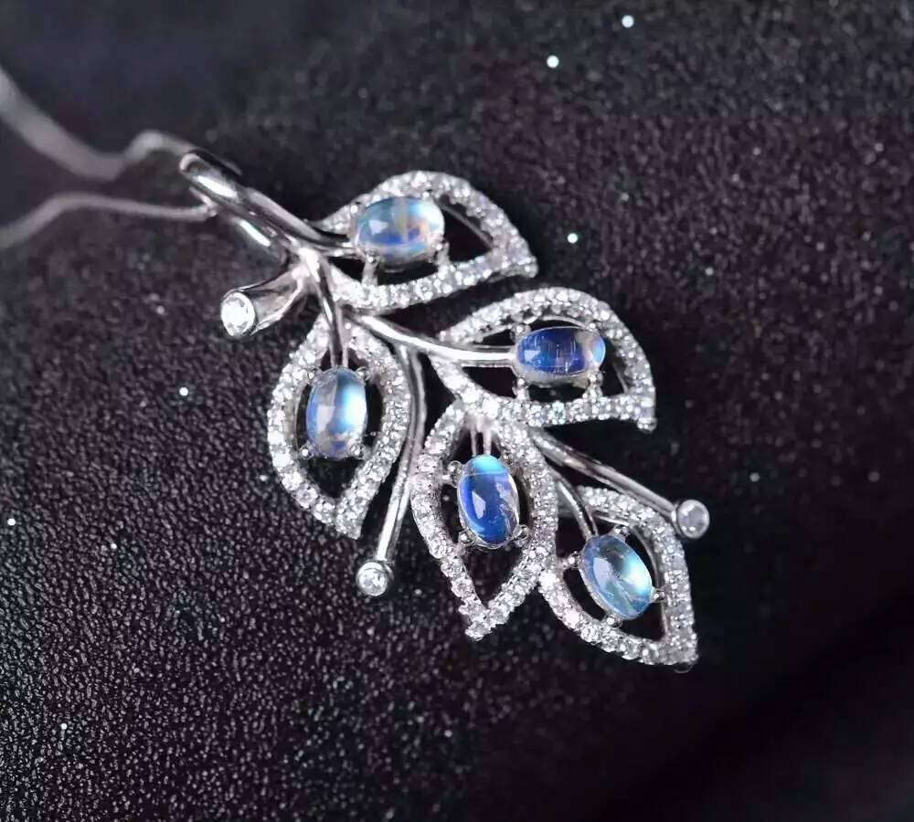 ec0b13a12a9d √Натуральный голубой лунный камень подвеска серебро 925 природный ...