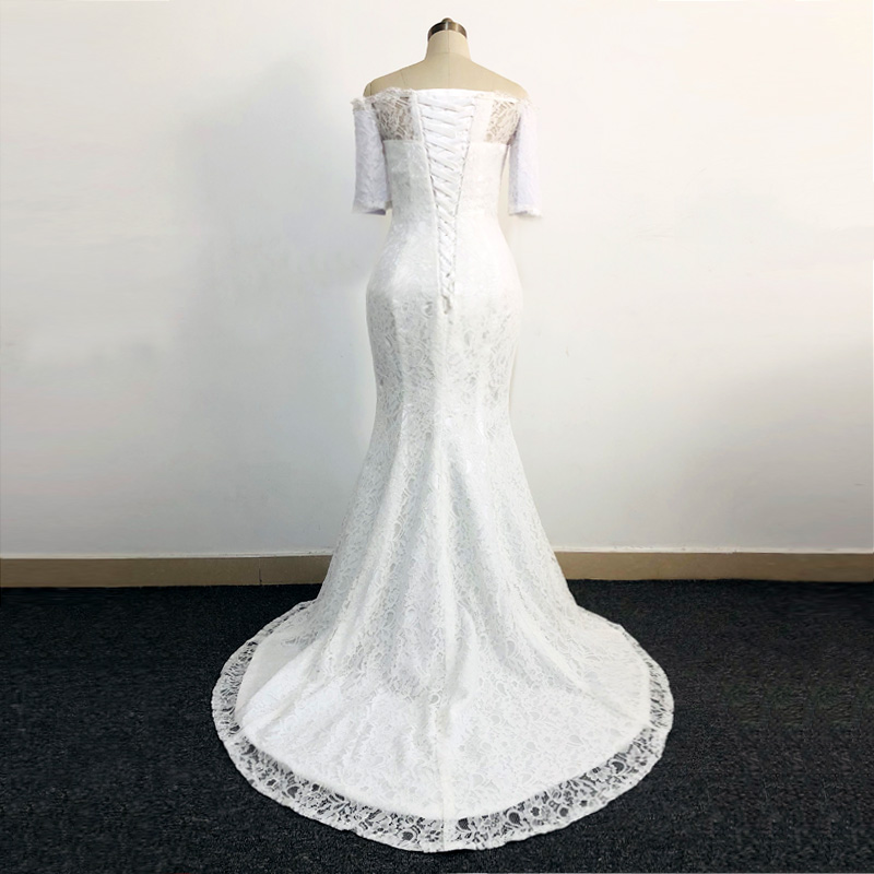Off The Shoulder Half Sleeves White Lace Mermaid Wedding Dress