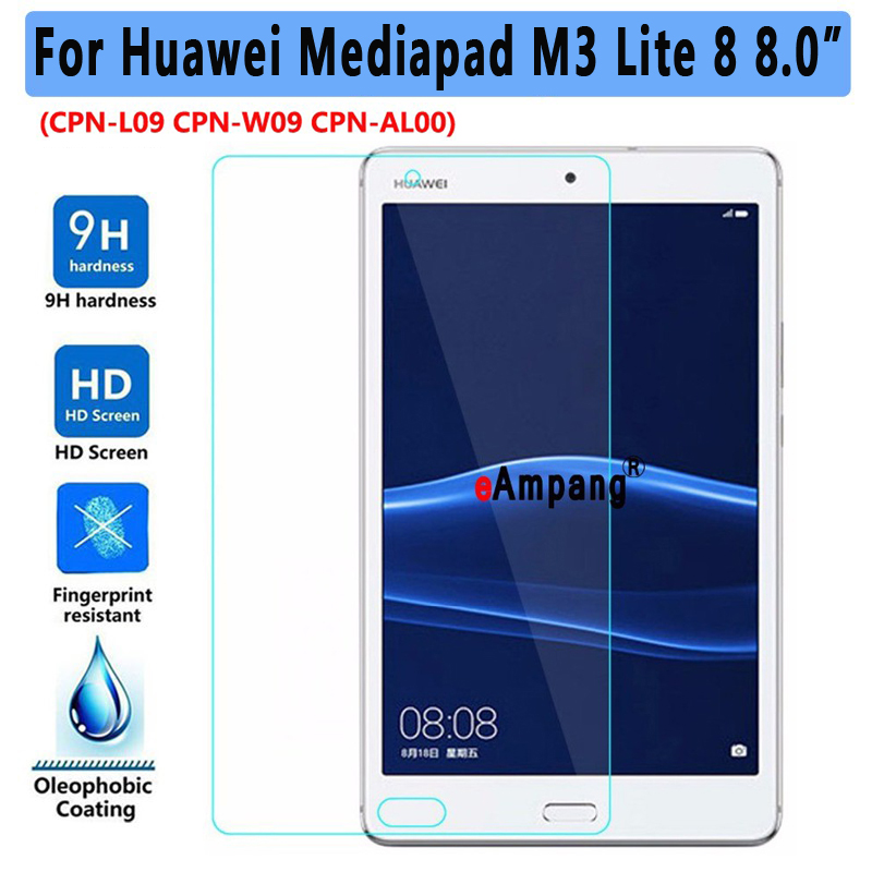 Tempered Glass For Huawei Mediapad M3 Lite 8 8.0 CPN-L09 CPN-W09 CPN-AL00 Clear Screen Protective Film Tablet Screen Protector