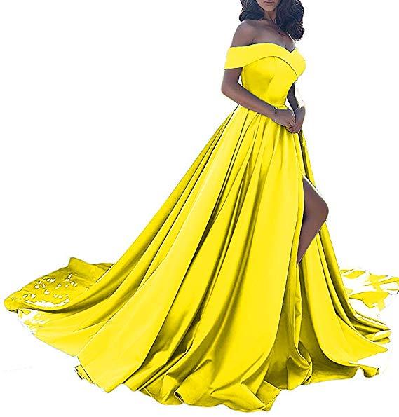 Vestido longo, сексуальные вечерние платья с разрезом, с открытыми плечами, платье для выпускного вечера,, официальное вечернее платье, Vestido De Noiva - Цвет: Yellow