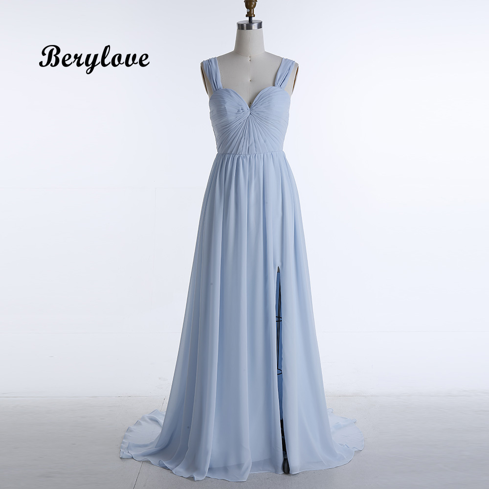 BeryLove Simple Blue Evening Dresses 2018 Long Chiffon Slit Sweetheart Evening Gowns Wedding Party Dresses Long Prom Dresses