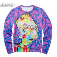 Devin Du 2017 Long Sleeved Hoodie 3D Printed Men S Purple Harajuku Cartoon Sweatshirts