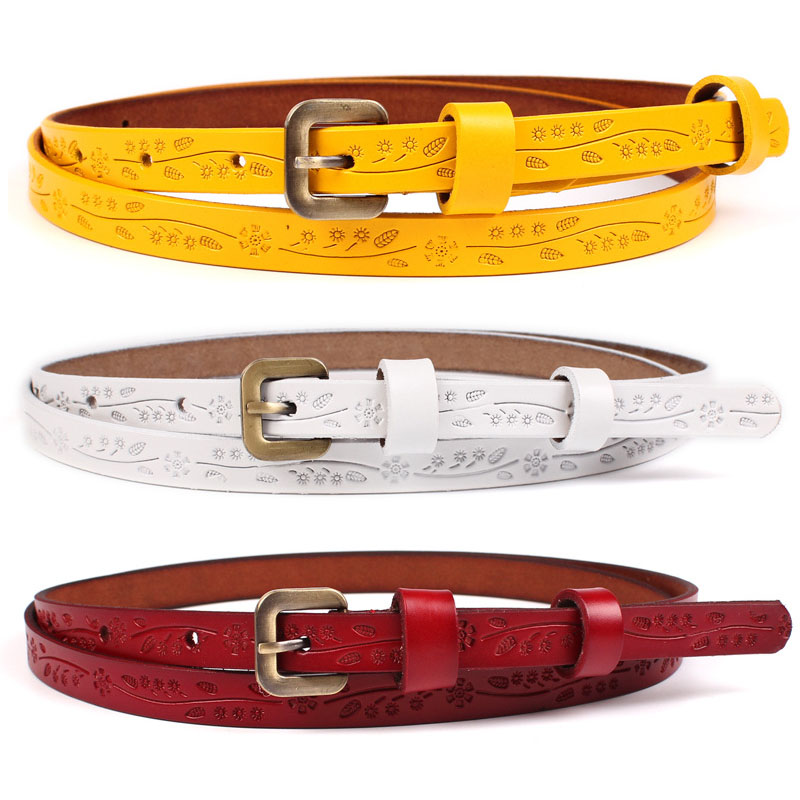 3pcs/lot Yellow Red Black Thin Genuine Leather Dress   Belt   Womens Floral Carved Vintage Pin Buckle   Belts   for Women Ceinture Femme