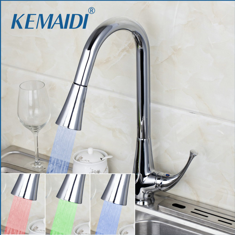 KEMAIDI LED Light Chrome Kitchen Pull Out Swivel Sprayer Basin Sink Single Handle Deck Mount Torneira Cozinha Mixer Tap Faucet modern kitchen sink faucet mixer chrome finish kitchen double sprayer pull out water tap torneira cozinha rotate hot cold tap