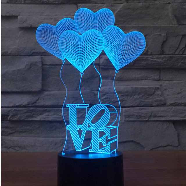 3D LED Night Lights Love Balloon with 7 Colors Light for Home Decoration Lamp