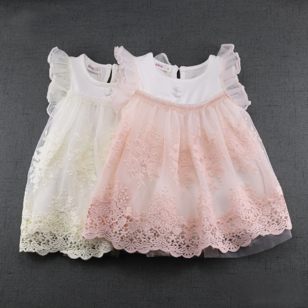 2017 Newest Summer Cute Lace Baby Girls Dress Korean Style Princess Clothes Girls Party Toddler Dresses DQ389 ems dhl free shipping toddler little girl s 2017 princess ruffles layers sleeveless lace dress summer style suspender