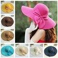 Nueva moda de verano sombrero de ala ancha Women Floppy casquillo de la paja para mujer las señoras del arco del Bowknot sombreros de sol plegable casquillo de la playa con cadena