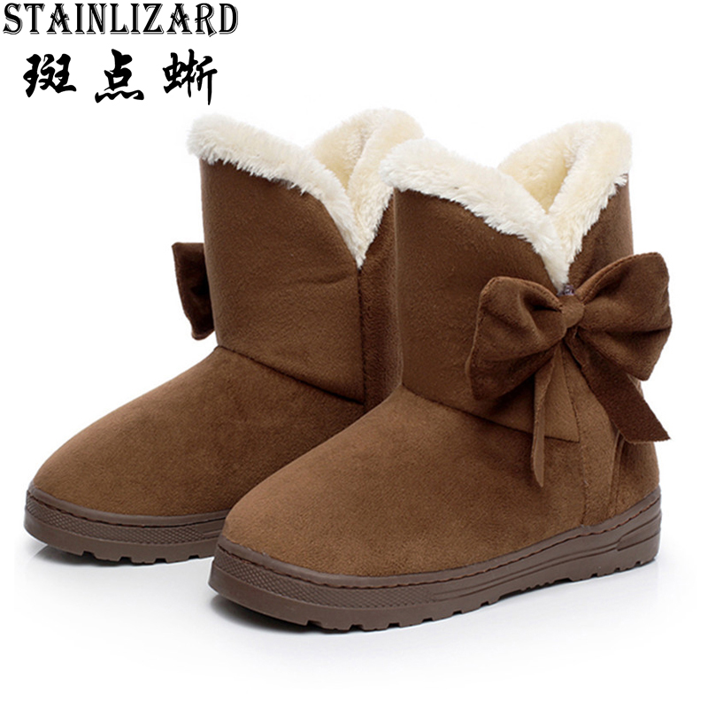 Women Snow Boots Warm Solid Plush Velvet Flat Ankle Boots Winter Bowtie Casual Shoes Round Toe Wild Ladies Winter Shoes SNF905 women snow boots wedges ankle boots fashion slimming swing shoes plush solid round toe platform shoes lady casual winter boots32