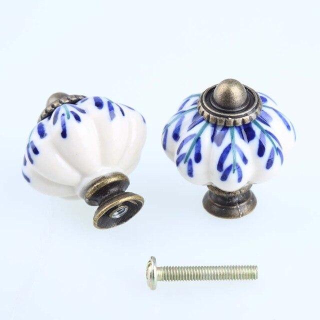 Hand Painted Blue And White Porcelain Pumpkin Knob Bronze Drawer Cabinet  Dresser Handles Knobs Pulls Antique