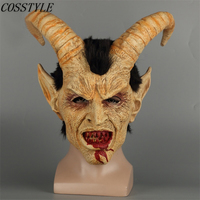 2018 New Scary Demon Devil Lucifer Masks Adult Halloween Cosplay Human Face Lucifer Full Head Horn Latex Mask Horror Party Props