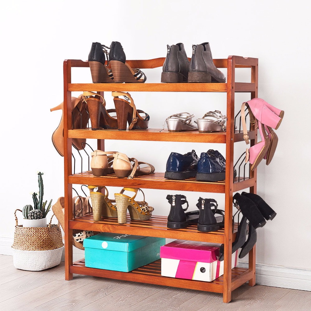 Giantex 5-Tier Wooden Shoe Rack Shelf Storage Organizer Entryway W/ 6 Shoe Stretcher Living Room Furniture HW57486Giantex 5-Tier Wooden Shoe Rack Shelf Storage Organizer Entryway W/ 6 Shoe Stretcher Living Room Furniture HW57486