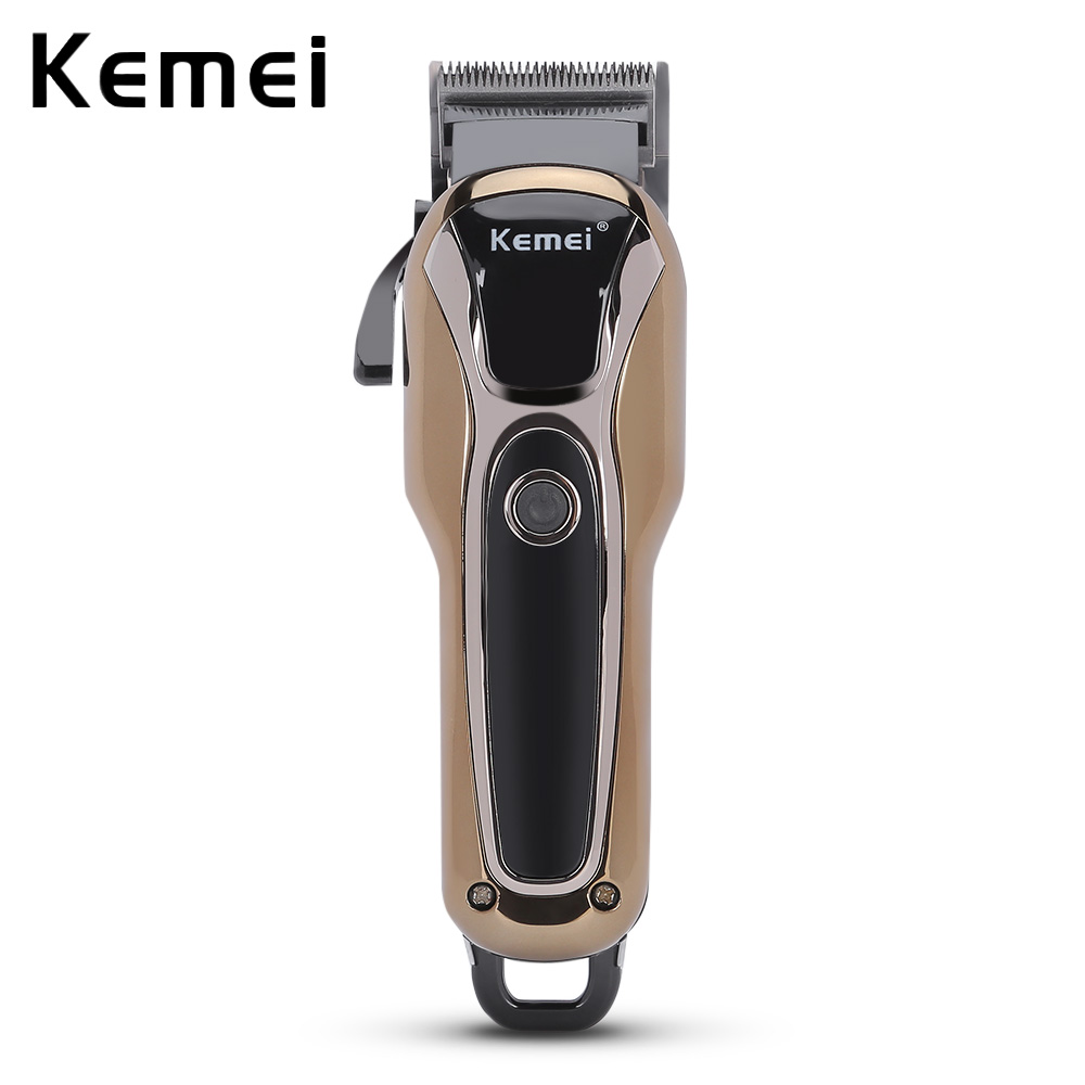 Kemei KM - 1990 Rechargeable 110 - 240V Electric Hair Trimmers Adjustable 5W Hair Clipper Haircut Trimmer With Comb LCD Screen kemei km 173 led adjustable temperature ceramic electric tube hair curler