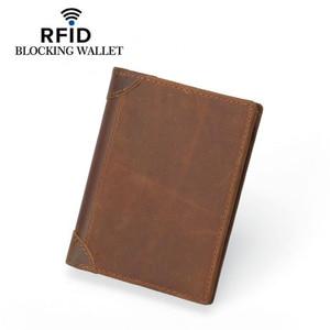 Image 4 - Genuine Cowhide Leather Money Clip Wallet Men RFID Blocking Purse Crazy Horse Leather Short Wallets Trifold Clutch for Man FM101